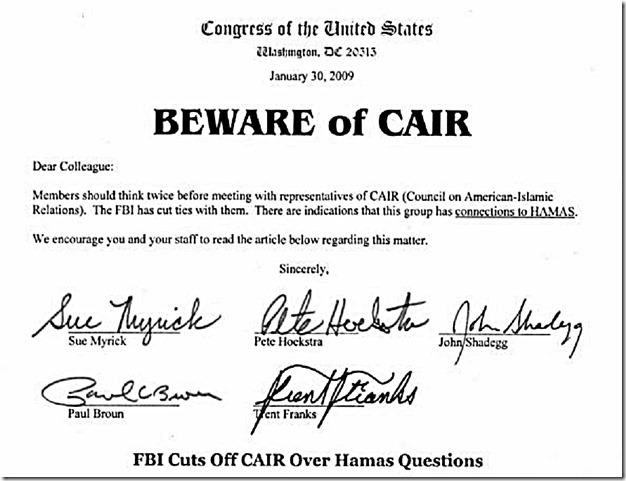 Beware of CAIR signed 5 Congressmen (woman)
