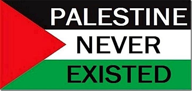 Palestine Never Existed stamped on flag